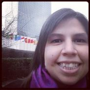 Vanessa C. Marcano, an up and coming professional, in front of the United Nations headquarters in New York -- March 2014