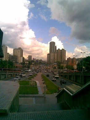 Towards Parque Central towers in downtown Caracas (2008)