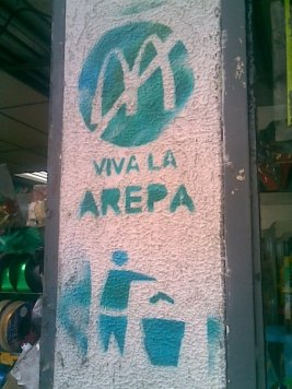 "No McDonalds -- ""Long live arepas"". Graffiti in Chacao municipality (eastern Caracas) 2007"