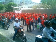 Public workers --Chavez supporters-- in street demonstration (2007)