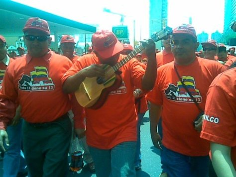 Public employees --supportive of the Revolution-- singing during a street demonstration in 2007