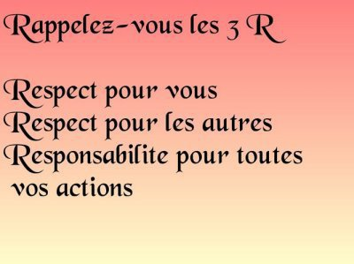 "Remember the 3 ""Rs"". Respect for yourself. Respect for others. Responsibility for your actions. (Photo: mamabiker's blog)"